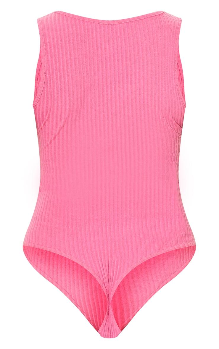 Pink Wide Rib Sleeveless Bodysuit 6
