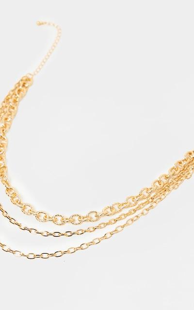 Gold Triple Chain Short Necklace
