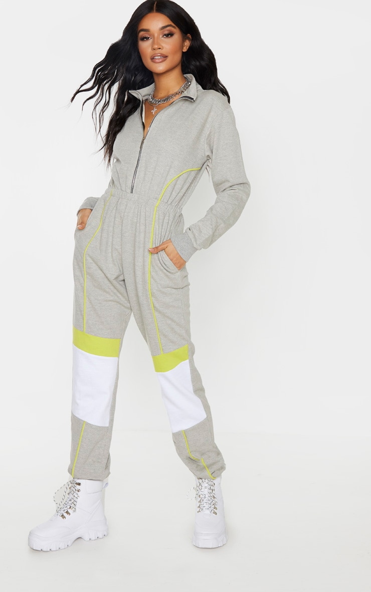 Grey Zip Detail Colour Block Sweat Jumpsuit 4