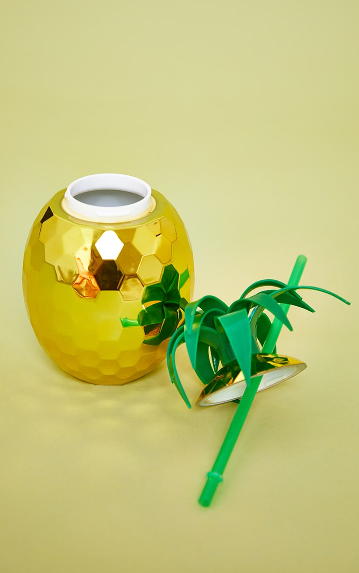 Gold Pineapple Cocktail Cup & Straw 4