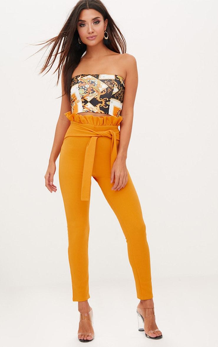 Mustard Paperbag Waist Skinny Trousers 1