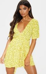 Yellow Ditsy Floral Wrap Tea Dress 4