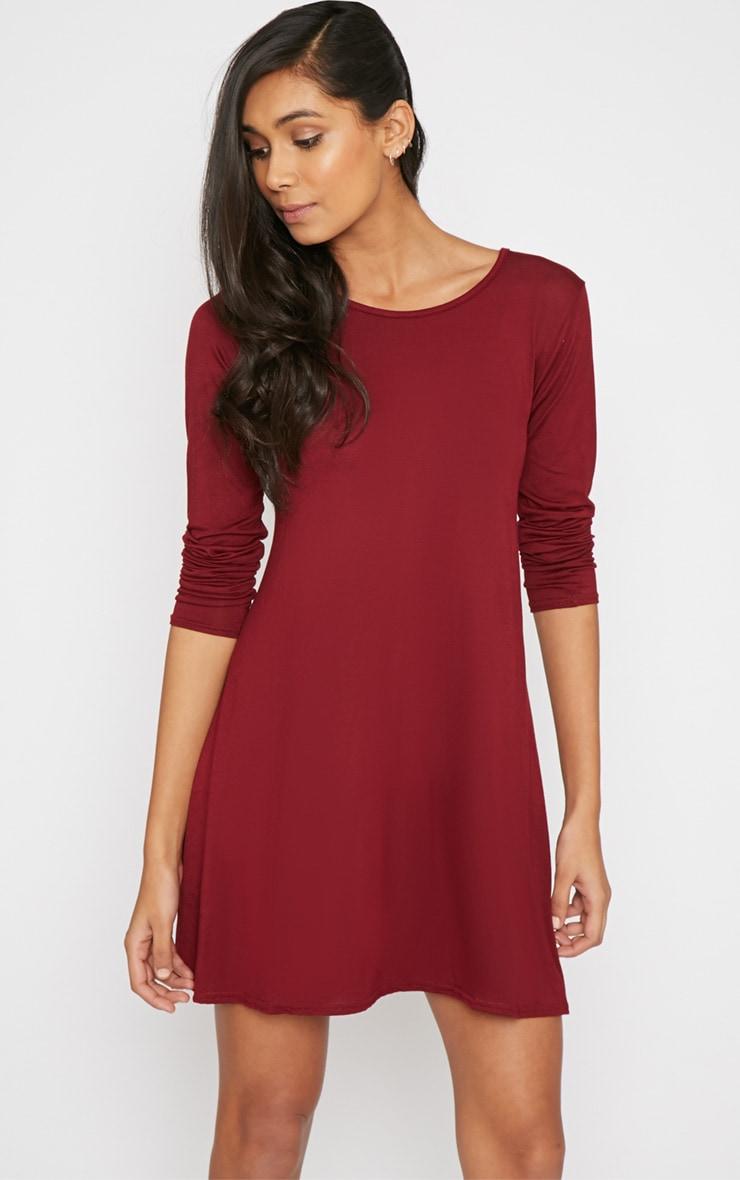 Rosetta Wine Jersey Swing Dress 3