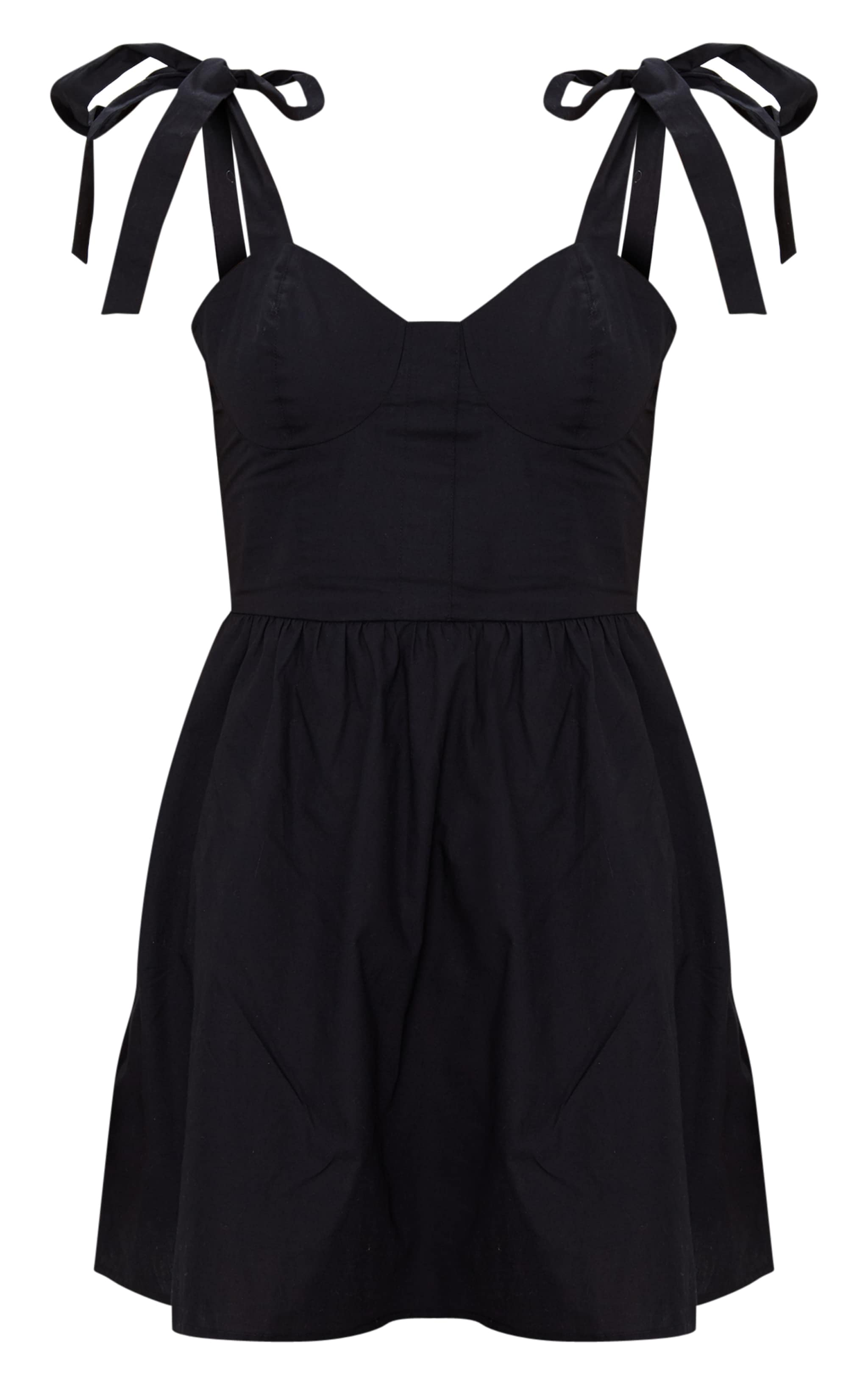Black Tie Strap Cup Detail Skater Dress 3