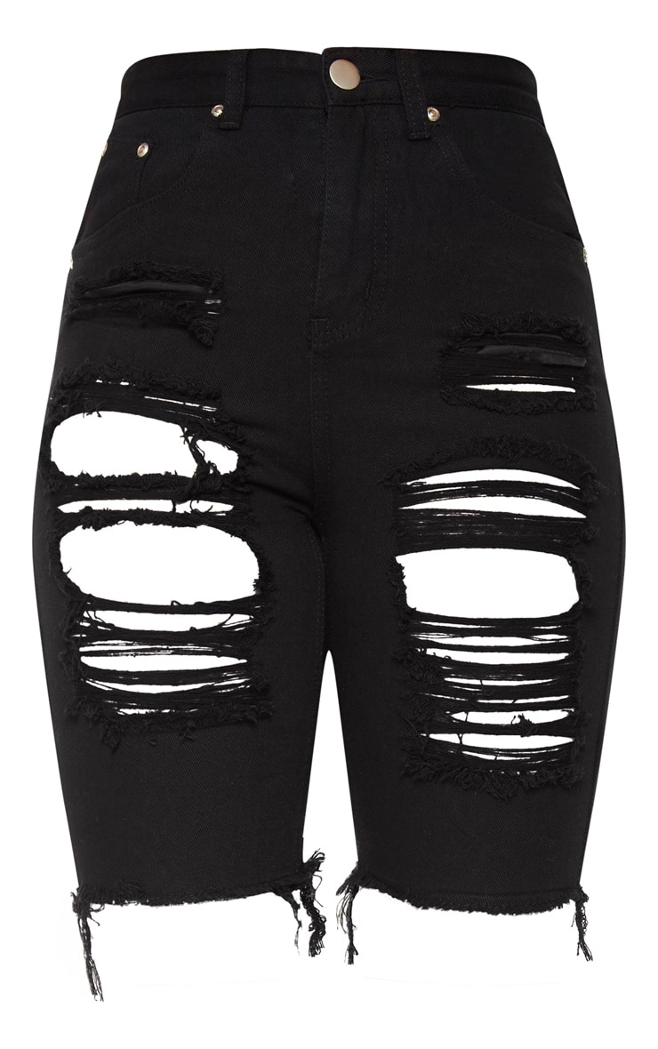 Black Extreme Distressed Long Shorts 3