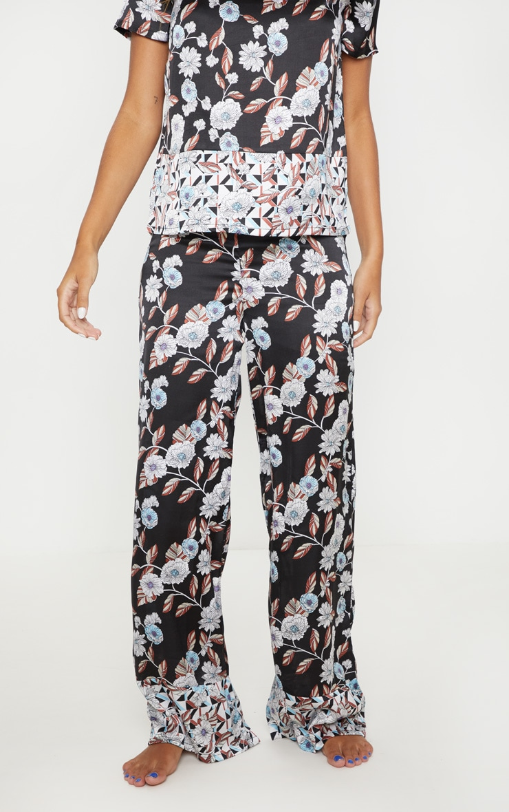 Black Geo Floral Satin Long Pyjama Bottom 2