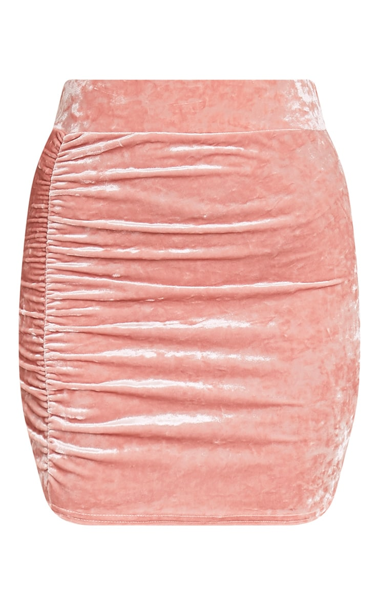 Elettra Ice Pink Velvet Side Ruched Mini Skirt  3