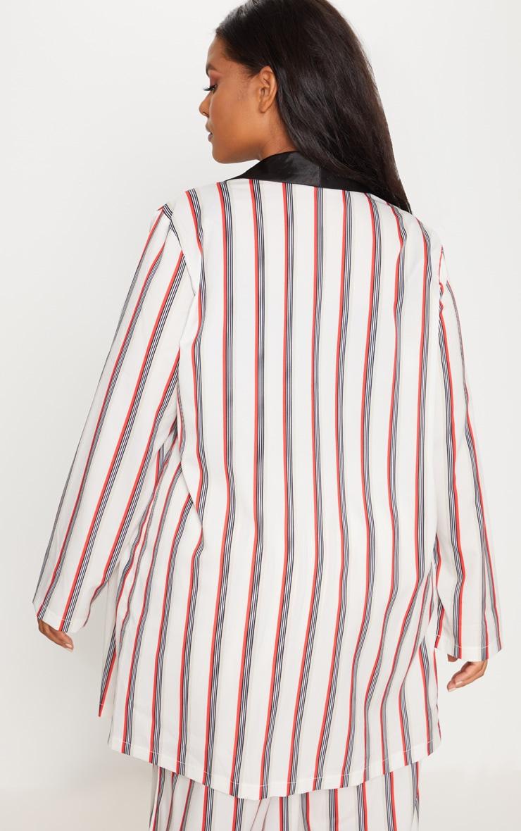 Plus Multi Stripe Longline Blazer 2