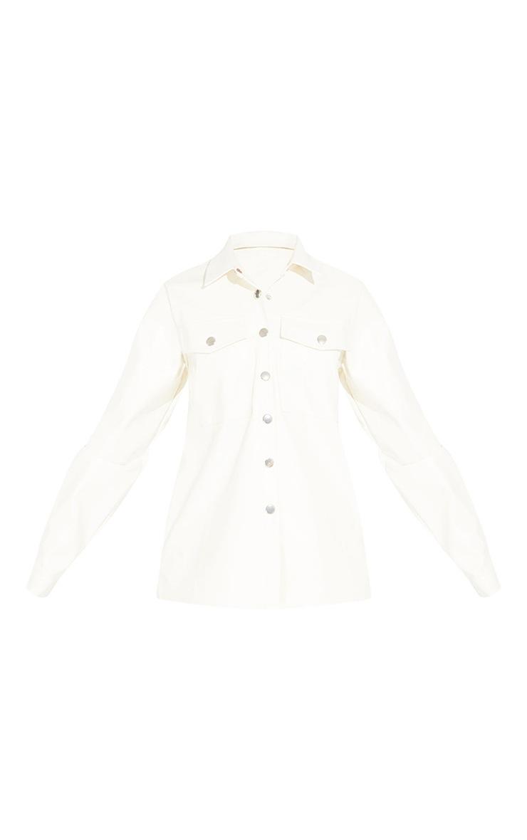 Petite Cream Button Front PU Shirt 5