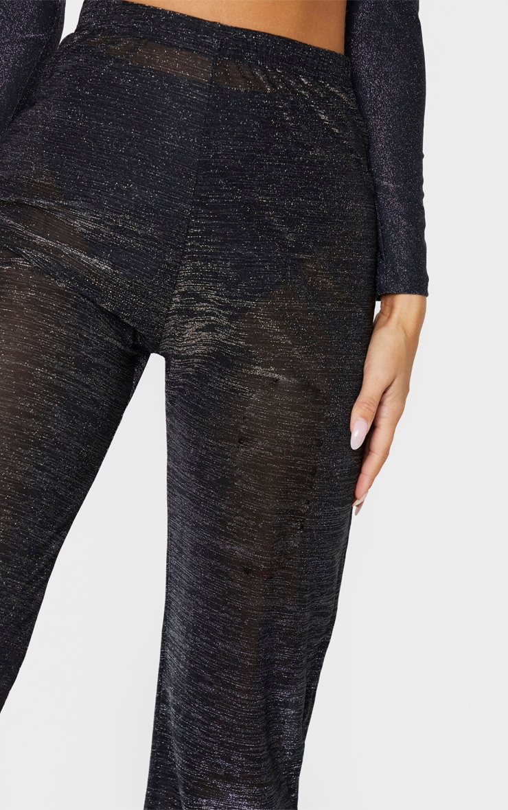 Black Glitter High Waist Wide Leg Beach Trouser 4