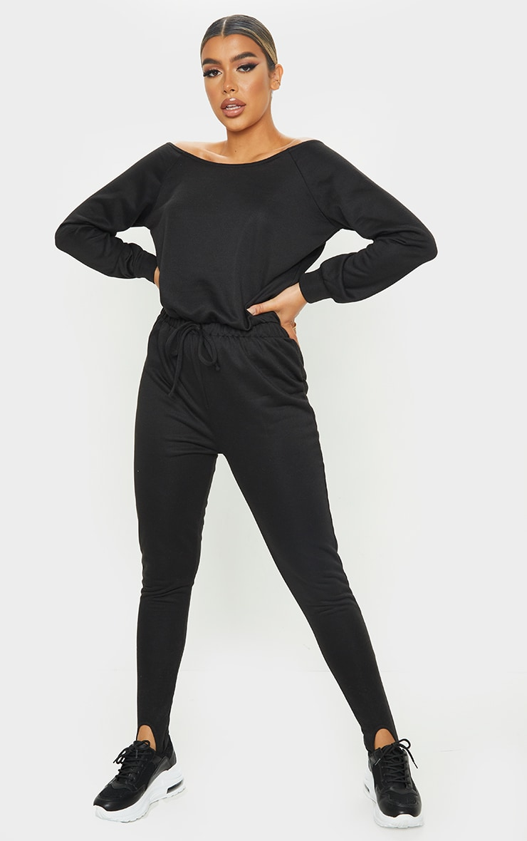 Black Sweat Bardot Stirrup Jumpsuit 1