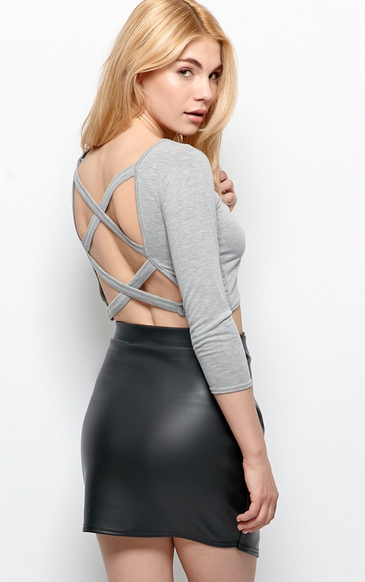 Kate Grey Cross Back Crop Top  1