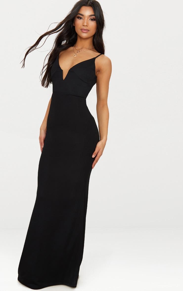 Black V Bar Backless Maxi Dress 4