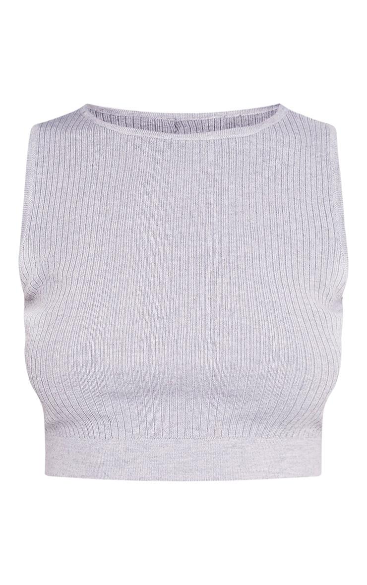 Aurelie Grey Ribbed Knitted Crop Top 3