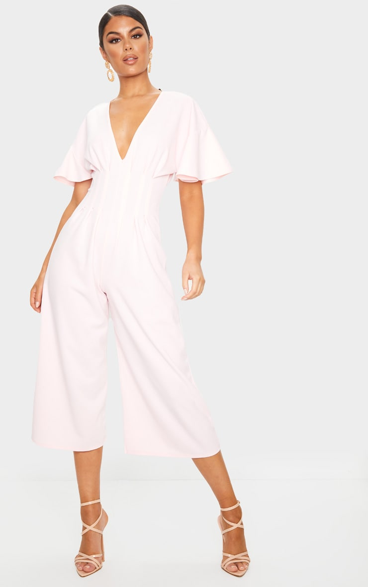 Dusty Pink Pleated Waist Plunge Culotte Jumpsuit 1