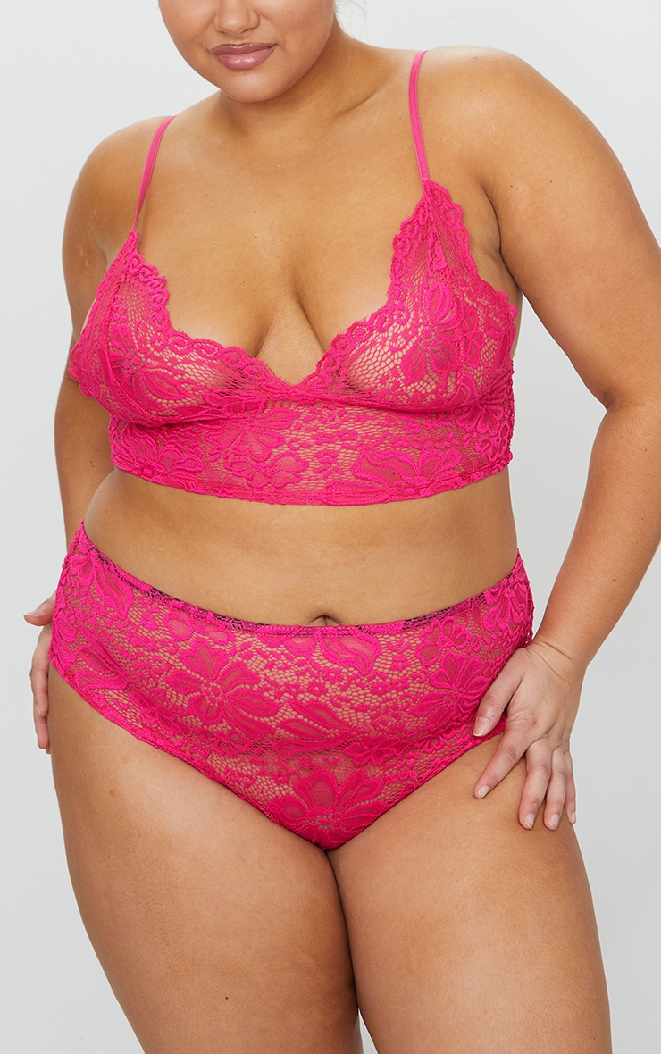 Plus Hot Pink Lace High Waist Knickers 1