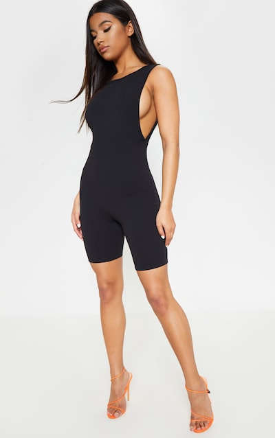 d8f05abb01a8 Black Side Boob Crew Neck Unitard