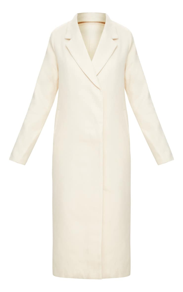 Cream Double Breasted Longline Coat 3