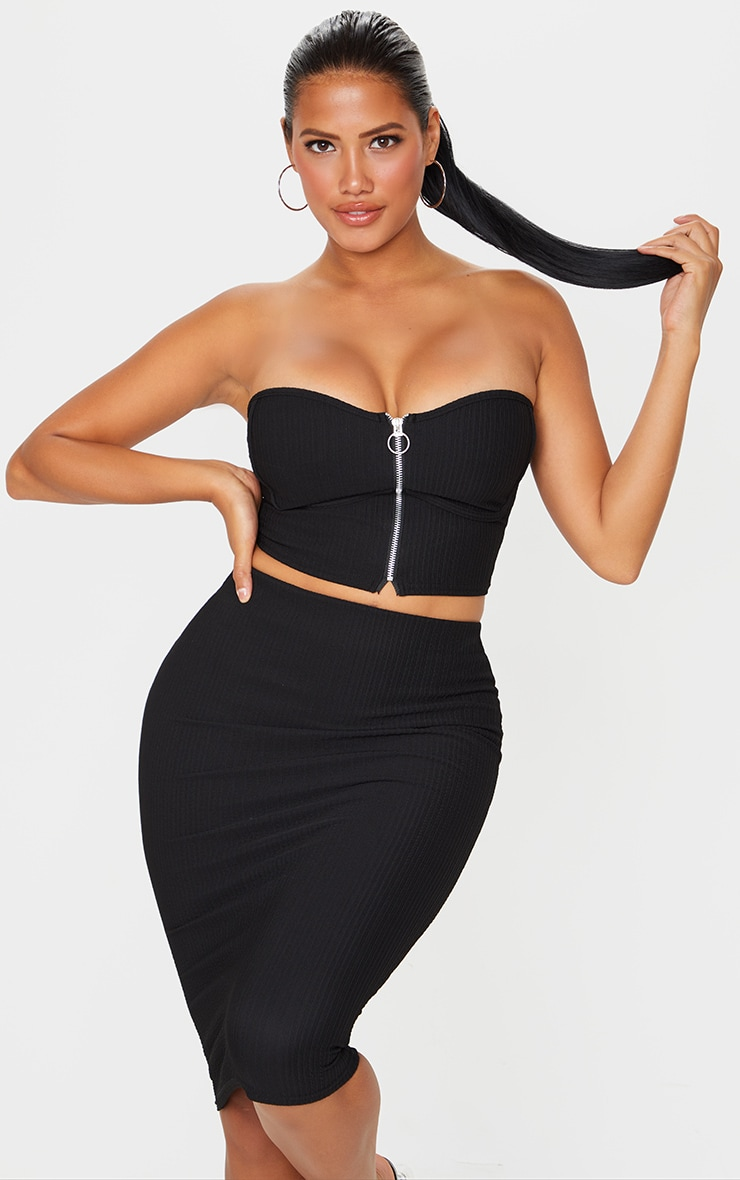 Shape Black Crinkle Rib Zip Front Underbust Crop Top 1
