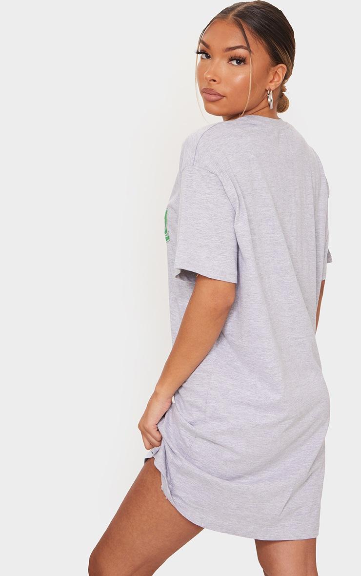 Grey Marl Girls Slogan Print T Shirt Dress 2