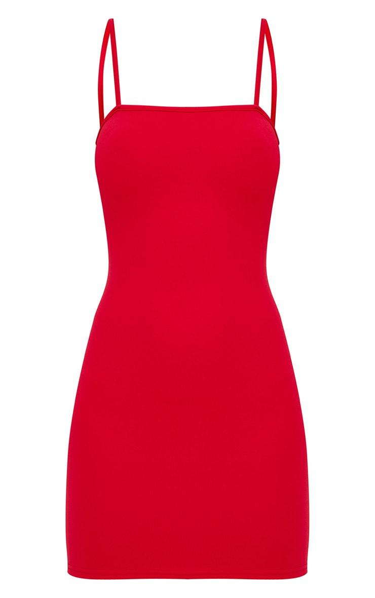 Red Straight Neck Bodycon Dress 1