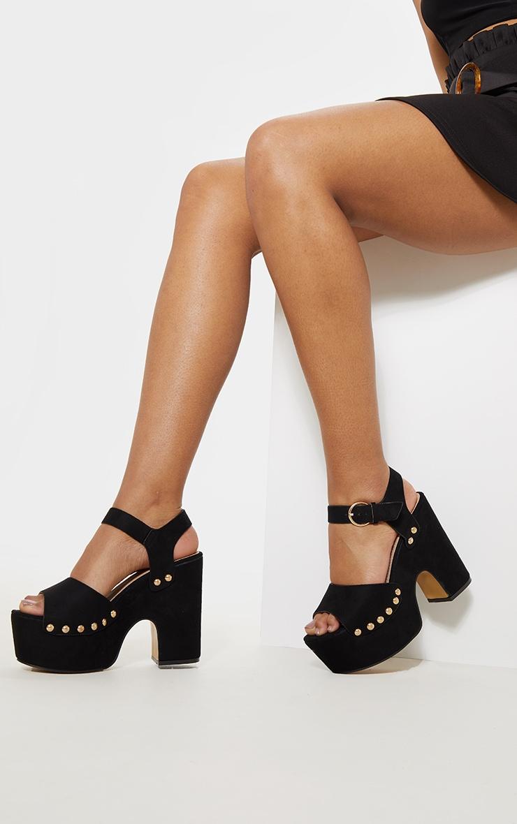 Black Studded Platform Sandal 2