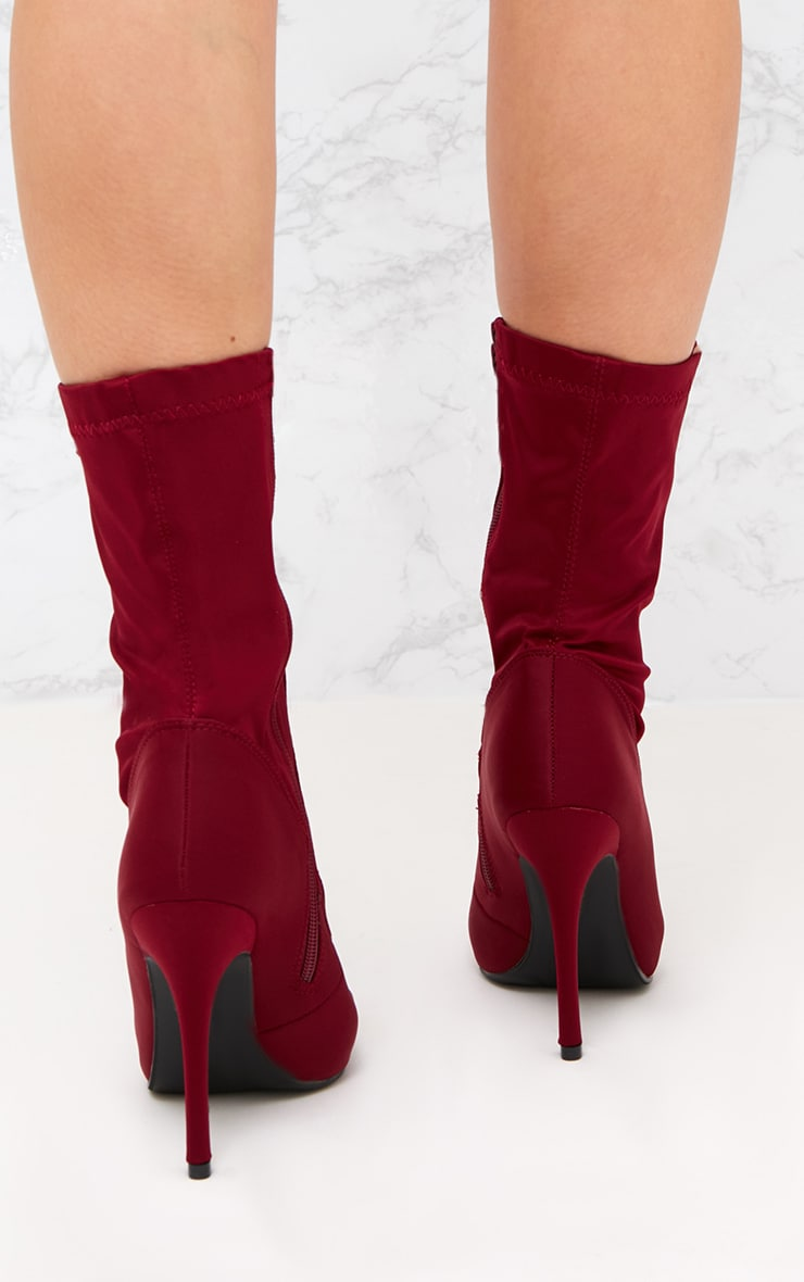 Burgundy Lycra Lace Up Ankle Boot 4