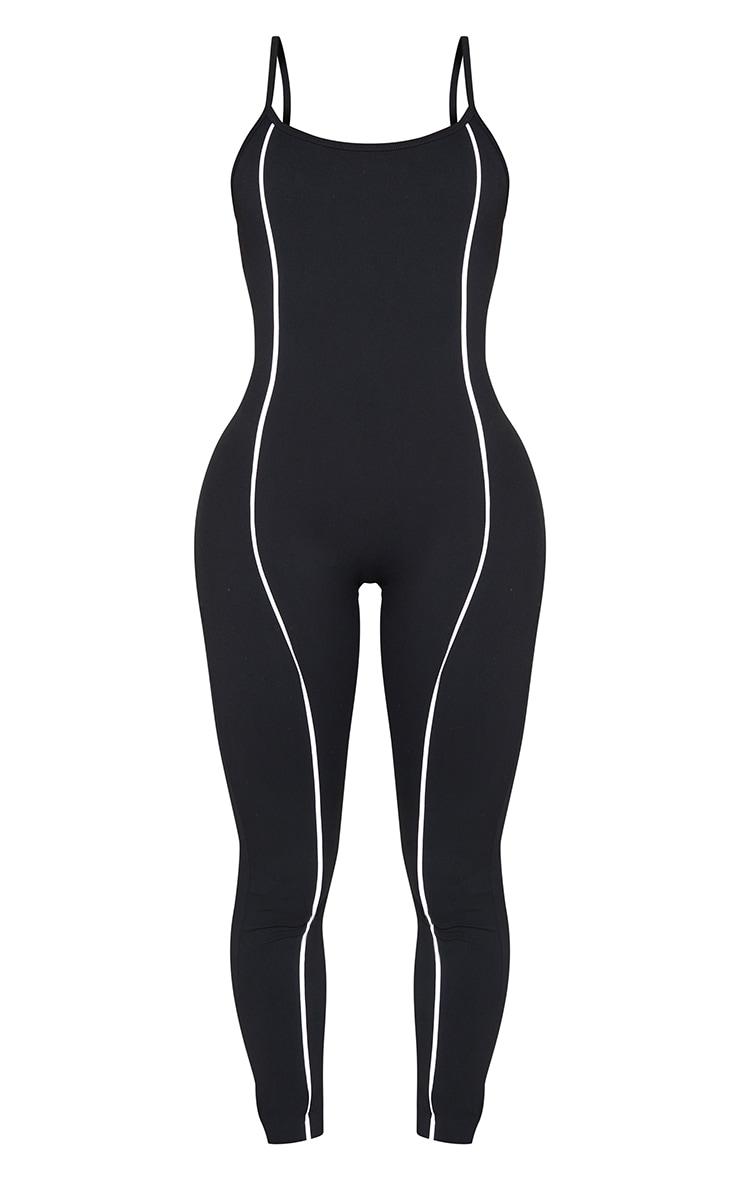 Shape Black Binding Detail Scoop Neck Sports Jumpsuit 5