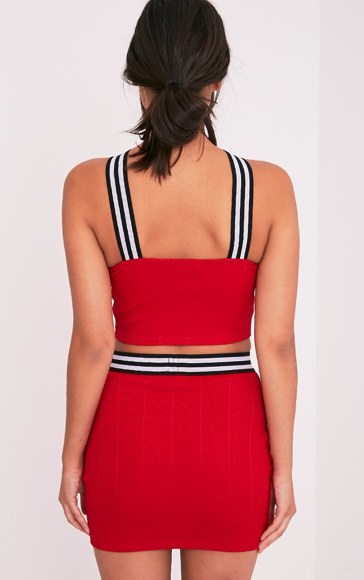 Chantal Red Sporty Bandage Cross Front Crop Top 2