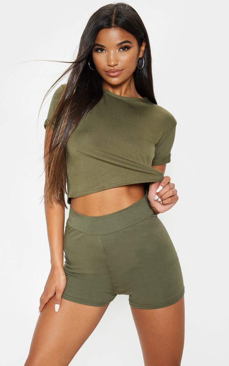 Basic Khaki High Waisted Shorts 1