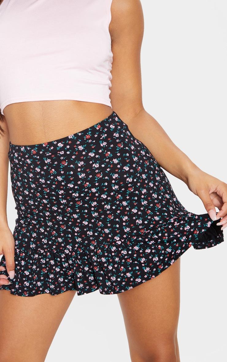 Black Ditsy Floral Skater Frill Hem Skirt  6