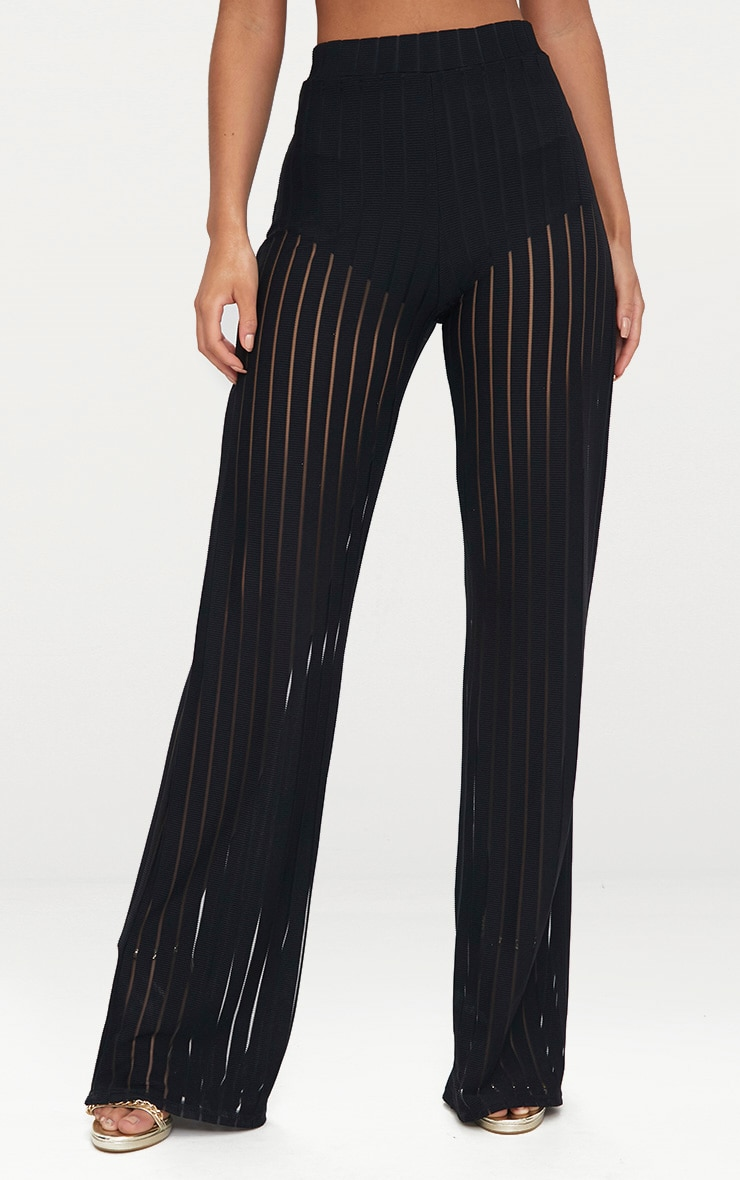 Black Mesh Stripe High Waisted Wide Leg Trousers 3