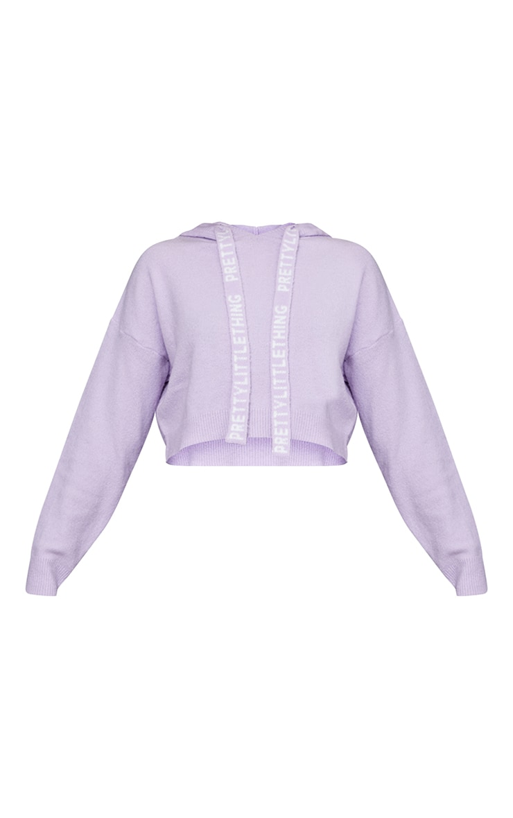 PRETTYLITTLETHING Lilac Soft Cropped Knitted Jumper 5