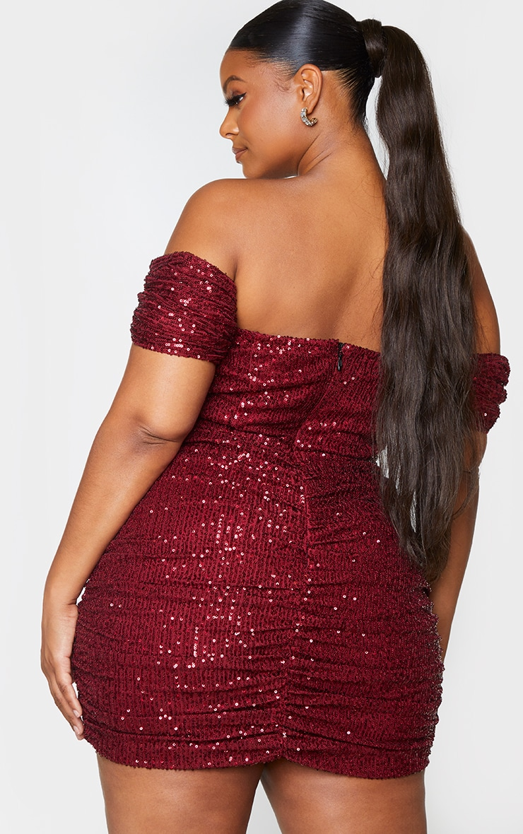 Plus Burgundy Sequin Bardot Bodycon Dress 2