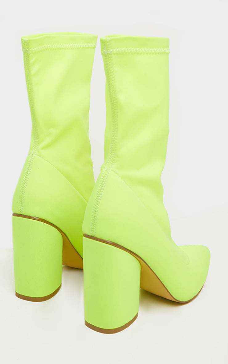 Neon Yellow Chunky Block Heel Sock Boot 5