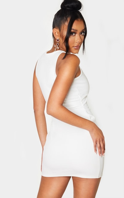 White Twill Crew Neck Cut Out Bodycon Dress