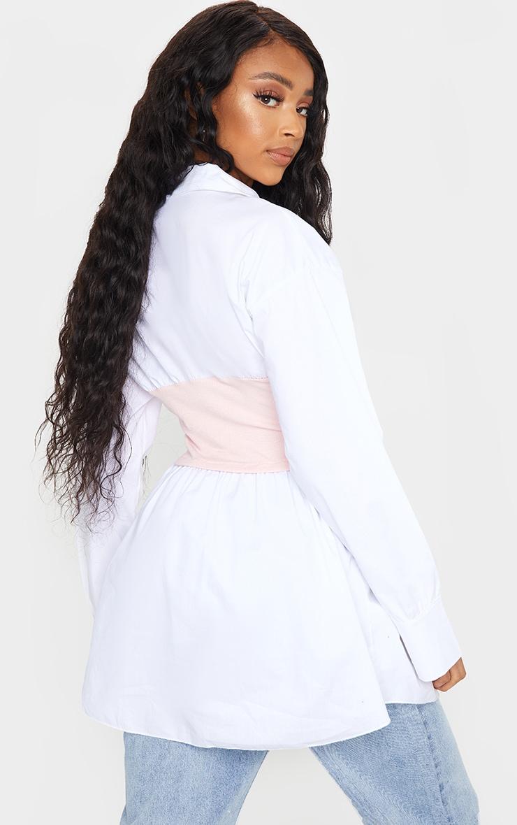 Nude Rib Bust Panel White Puff Sleeve Shirt 2