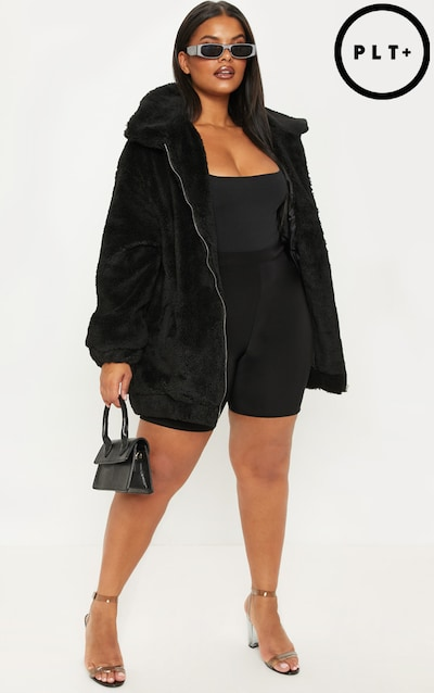 17e10b4588f16 Plus Black Teddy Bomber Coat