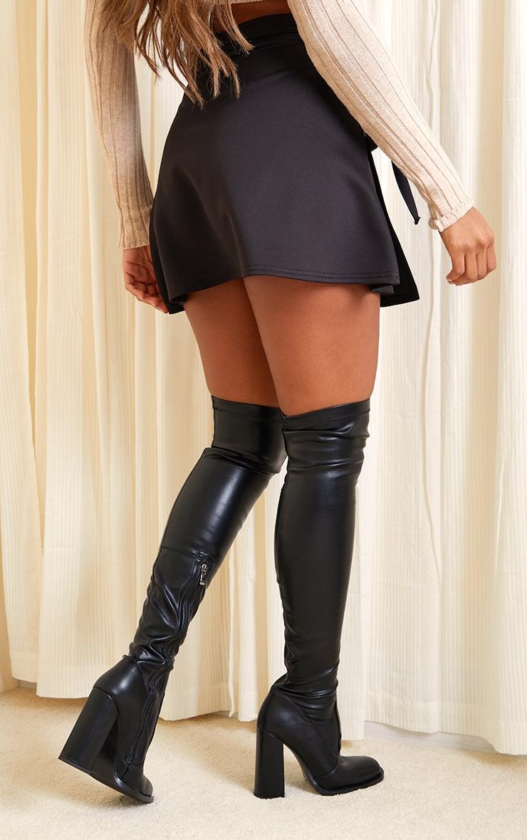 Black Wrap Scuba Mini Skirt 3