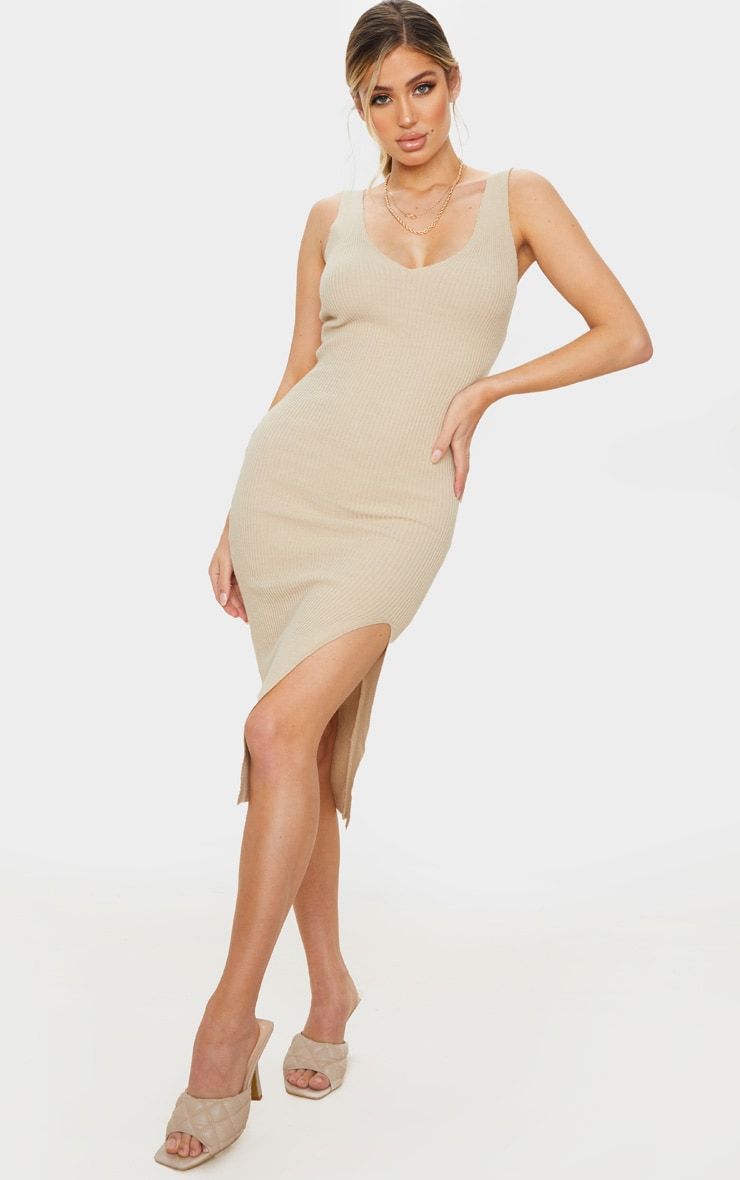 Stone V Neck Side Split Knitted Midi Dress 1