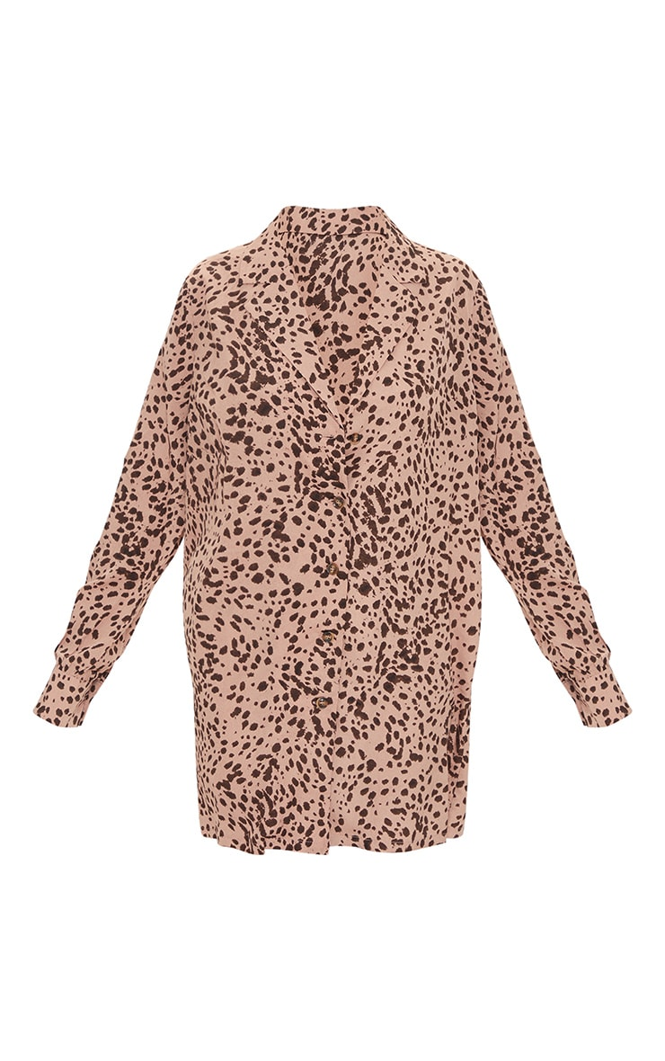 Blush Dalmatian Print Long Sleeve Shirt Dress 5
