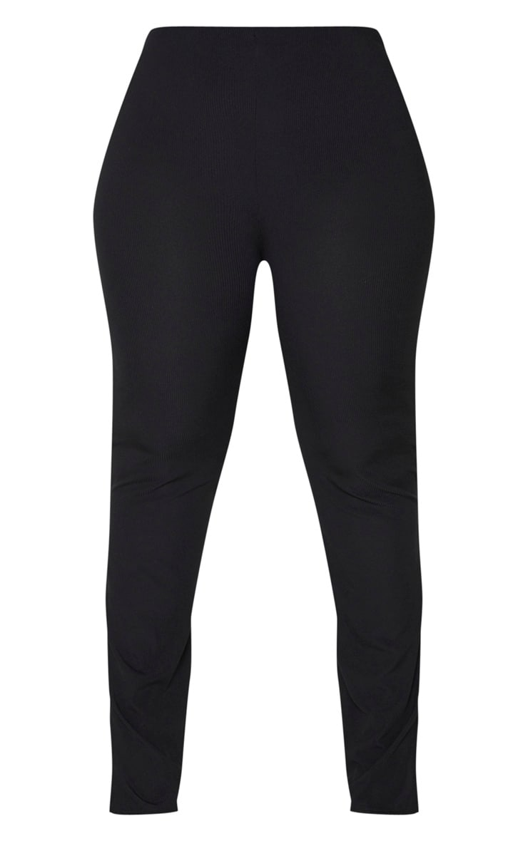 Plus Black Ribbed Skinny Split Hem Pants 3
