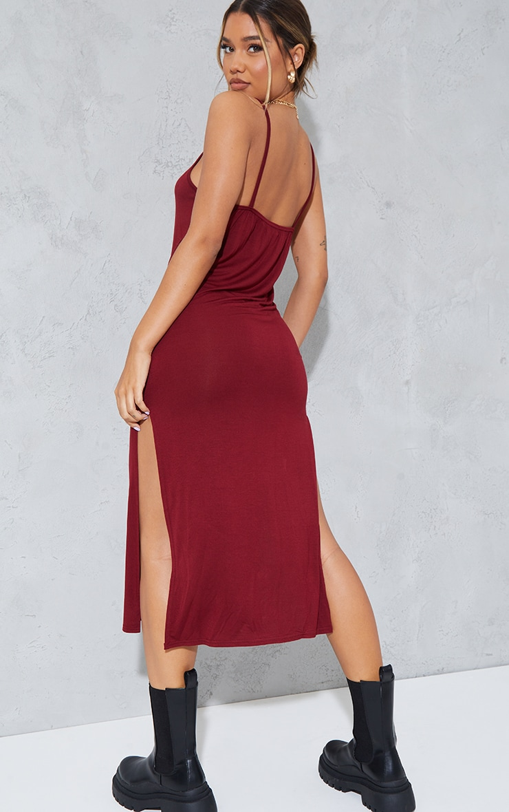 Dark Red Jersey Split Cami Midi Dress 2