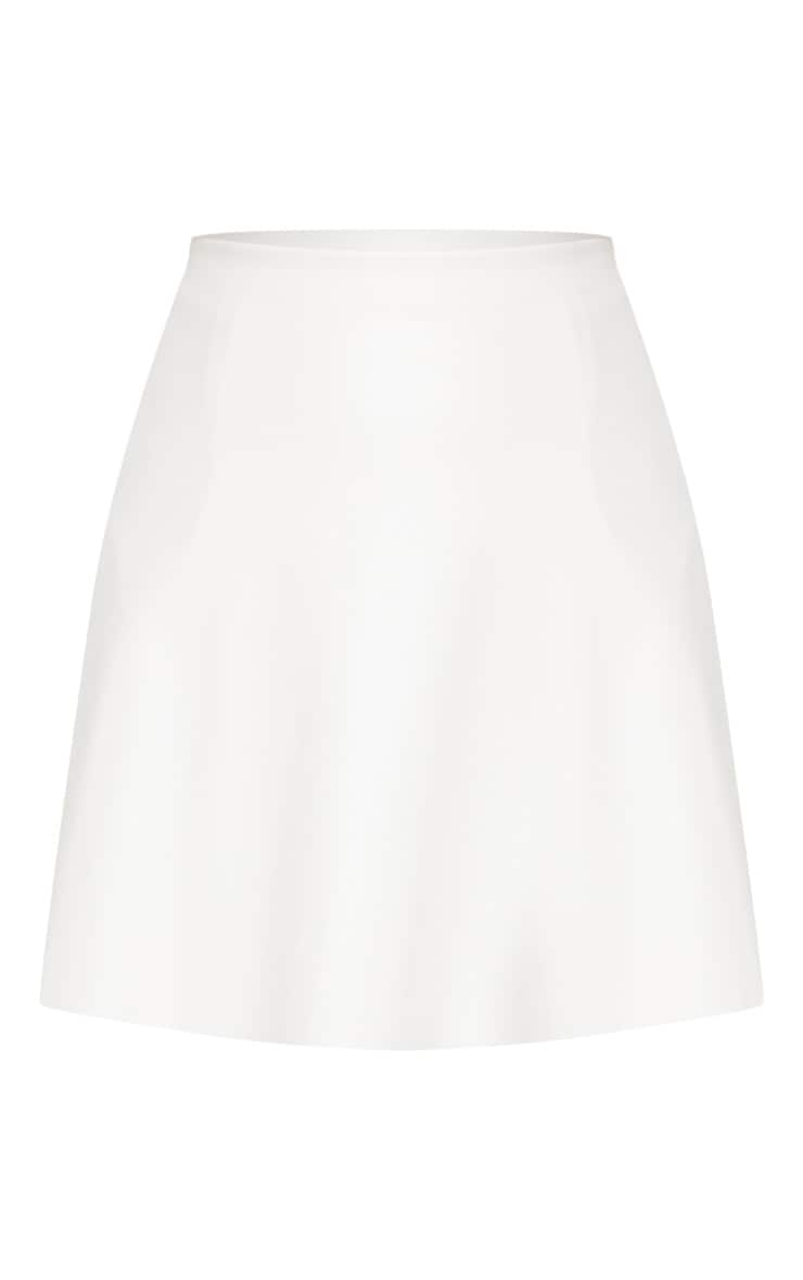 Ivory Faux Leather A Line Mini Skirt 3