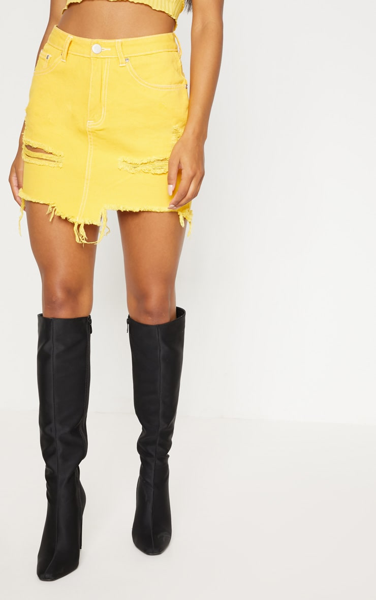 Yellow Contrast Stitch Denim Skirt 2