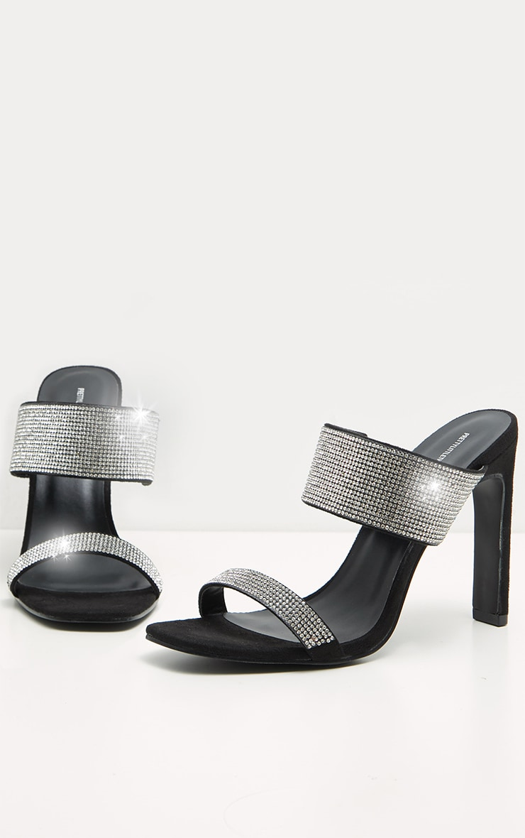Black Diamante Twin Strap Flat Heel Mule 3