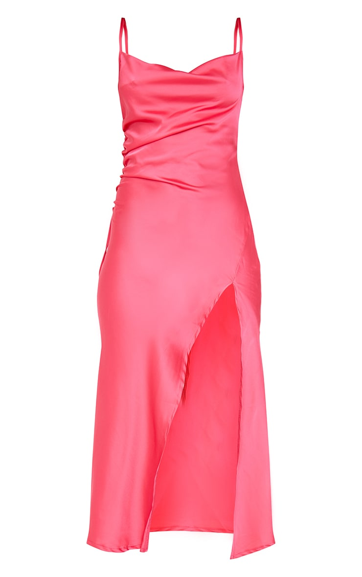 Hot Pink Strappy Satin Gathered Side Split Hem Midi Dress 5