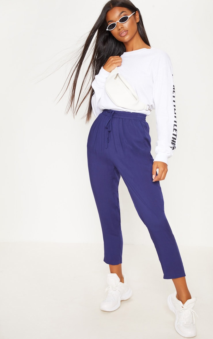 Diya Navy Casual Trouser