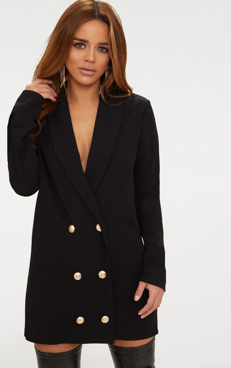Petite Black Gold Button Blazer Dress 1