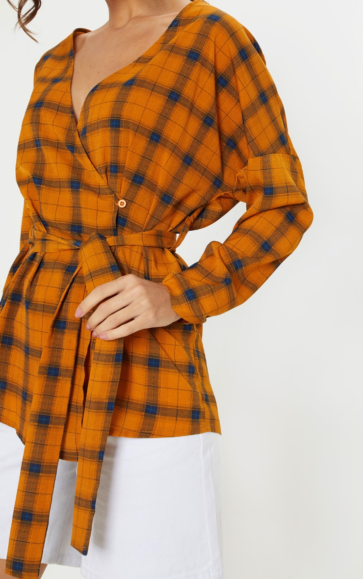 Mustard Check Plunge Belt Detail Oversized Shirt 5